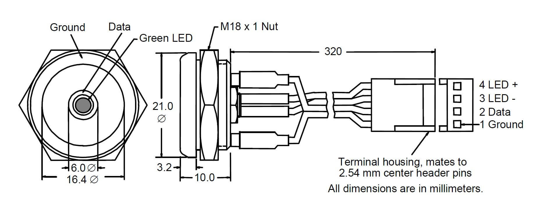 Diagram and Wirings of DS9092L+ iButton Probe with LED