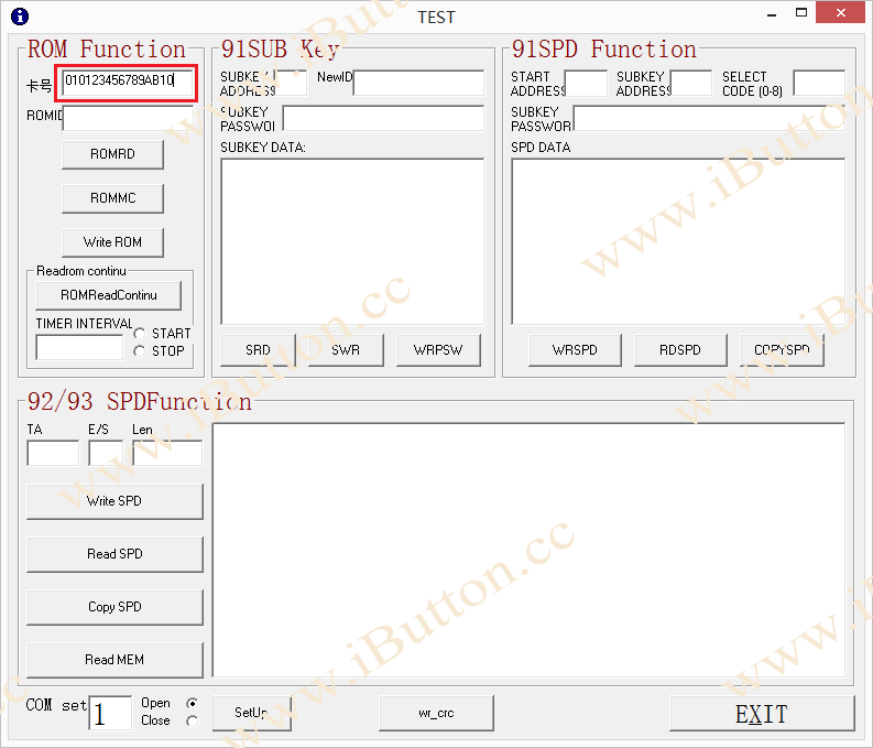 Input iButton ID Number with correct CRC code